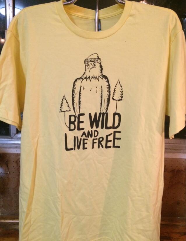 Barking Goat Studio Be Wild and Live Free tee shirt in Yellow.