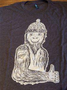 Heathered T-shirts with a Sasquatch print with a powder tattoo.