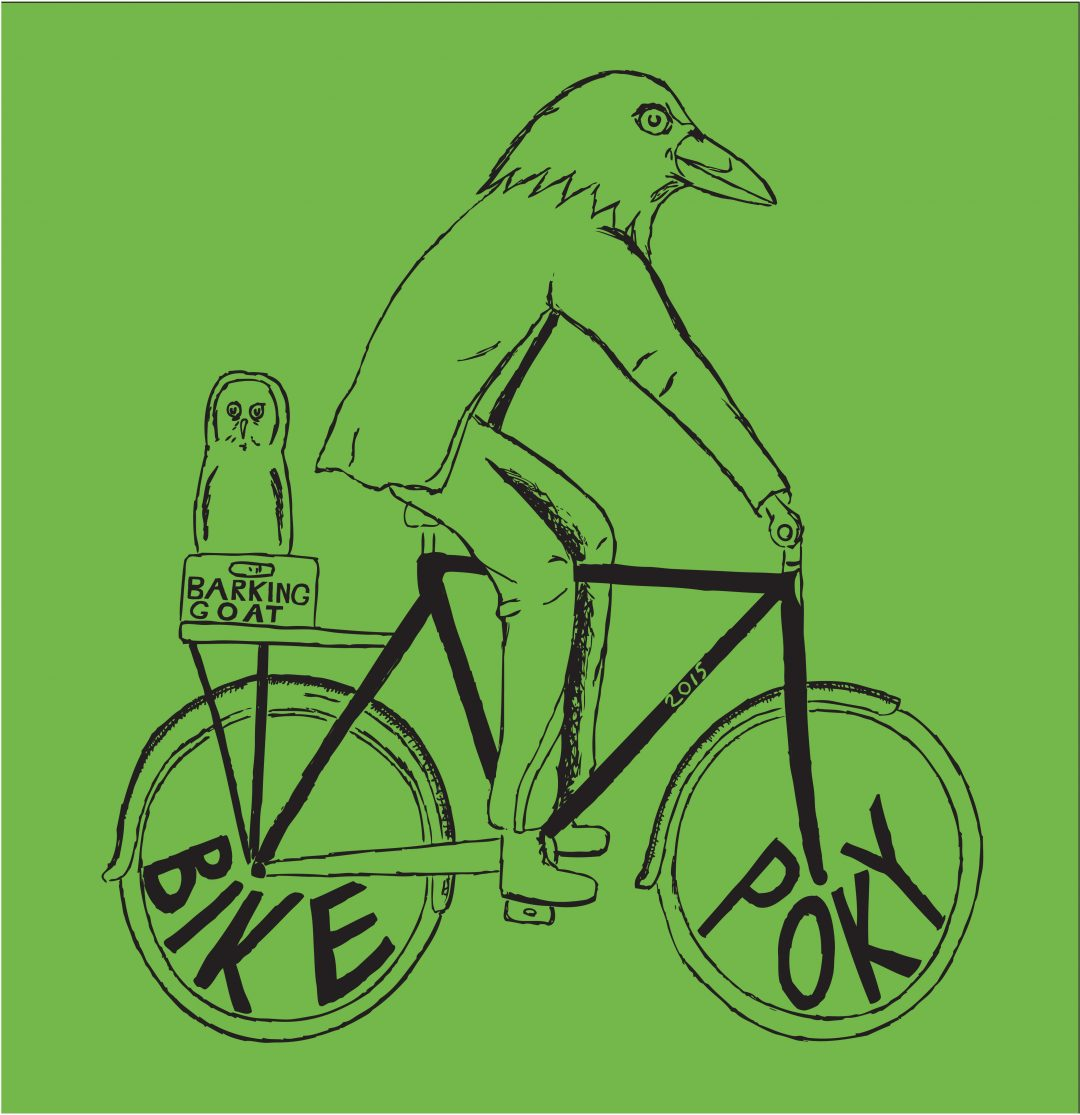 Bird Man riding a bike that says Bike Poky in the Tires